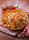 barley risotto with beans and tomatoes