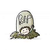 child's drawing of a zombie rising from grave