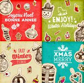 foto of greeting card design  - Christmas Vector Vintage Cards Set - JPG