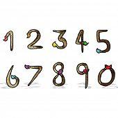 cartoon paintbrush shaped numbers