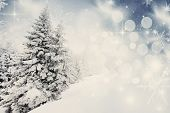 Vintage Christmas background with snowy fir trees