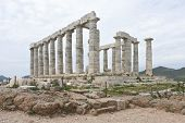 picture of poseidon  - Ruins of the Poseidon temple at the very tip of cape Sounio - JPG