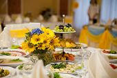 foto of wedding table decor  - gorgeous wedding decor on table with sunflowers - JPG