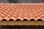 foto of roof tile  - New roof with ceramic tiles close up - JPG