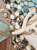 picture of mother-of-pearl  - marine theme in interior design with blue ceramic mosaic - JPG