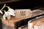picture of get well soon  - snowdrop and card with lettering get well soon - JPG