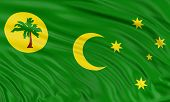 picture of coco  - 3D Cocos Islands flag with fabric surface texture - JPG