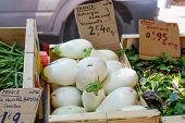 picture of aubergines  - Fresh eggplants aubergine vegetables on mediterranean street market in Provence France - JPG