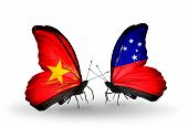 foto of samoa  - Two butterflies with flags on wings as symbol of relations Vietnam and Samoa - JPG