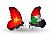 picture of sudan  - Two butterflies with flags on wings as symbol of relations Vietnam and Sudan - JPG