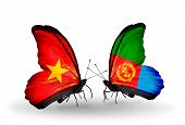 stock photo of eritrea  - Two butterflies with flags on wings as symbol of relations Vietnam and Eritrea - JPG