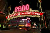 Постер, плакат: Reno Usa August 12: the Biggest Little City In The World Sign Over Virginia Street At Night On
