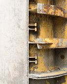 foto of formwork  - Rusty metal formwork used for building the concrete constructions - JPG