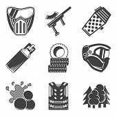 picture of paintball  - Set of black silhouette flat vector icons for paintball equipment and outfit on white background - JPG