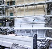 picture of scaffolding  - scaffolding around a buiding in the town of la spezia - JPG