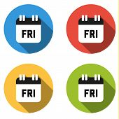 foto of friday  - Set of 4 isolated flat colorful buttons for Friday  - JPG