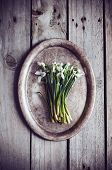 foto of trays  - Bouquet of spring flowers snowdrops on a vintage tray on an old wooden board - JPG