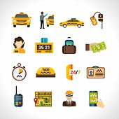 stock photo of cabs  - Taxi service icons set wth payment cab driver id isolated vector illustration - JPG