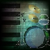 image of drum-kit  - abstract dark green grunge background with drum kit - JPG