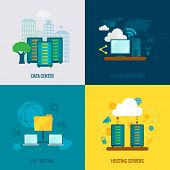 picture of composition  - File hosting cloud storage data center users support service 4 flat icons composition abstract isolated vector illustration - JPG