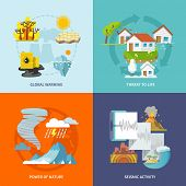 foto of global-warming  - Natural disaster design concept set with global warming life threat power of nature seismic activity flat icons isolated vector illustration - JPG