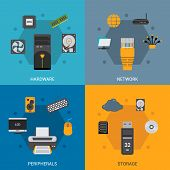 picture of peripherals  - Computer parts design concept set with hardware network peripherals storage flat icons isolated vector illustration - JPG