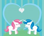 foto of unicorn  - Couple of cartoon unicorns in love  - JPG