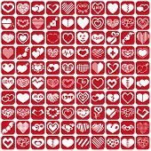 pic of broken heart flower  - white icons heart set on a red background - JPG