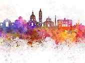 stock photo of messina  - Messina skyline in artistic abstract watercolor background - JPG