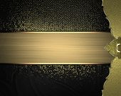 pic of gold  - Black and gold background with a gold edge and gold ribbon - JPG