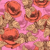 stock photo of moth  - Sketch moth and poppy in vintage style vector seamless pattern - JPG