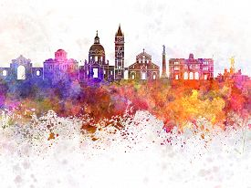 pic of messina  - Messina skyline in artistic abstract watercolor background - JPG