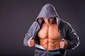 stock photo of abdominal  - Bodybuilder showing his press - JPG