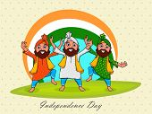 picture of punjabi  - Young punjabi men performing bhangra on national flag colors background for Indian Independence Day celebration - JPG