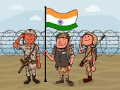 image of indian flag  - Young happy soldiers saluting to national flag on border for Indian Independence Day celebration - JPG
