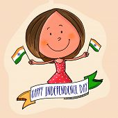 picture of indian independence day  - Cute little girl holding flag in both hands with national tricolor ribbon for Indian Independence Day celebration - JPG