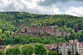 image of quaint  - Heidelberg Castle in Lush Green Forested Hills Overlooking Quaint Town of Heidelberg - JPG