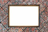 Old Russian Style Vintage Elegant Frame On Granite Background Concept Dissonance Between Elegant Old