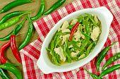 foto of stir fry  - Stir Fried Chicken Breast with Green Organic Cayenne Pepper  - JPG