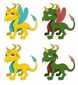 picture of creatures  - Set of illustration of cute little dragons with insect - JPG