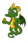 picture of dragon  - Cute little green dragon flying and holding a golden dragon egg isolated on a white background - JPG