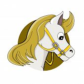 picture of horse head  - Illustration of horse or pony head white horse with yellow mane isolated on a white background - JPG