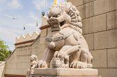 stock photo of stone sculpture  - Buddhist sculpture of a lion - JPG
