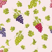 stock photo of cluster  - Seamless pattern with grape clusters and leaves - JPG
