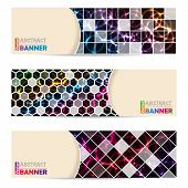 picture of laser beam  - Cool banner set of three with abstract laser plasma background - JPG