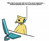 stock photo of rep  - Business cartoon of customer service cat toying with customer who is saying - JPG