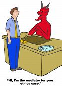 picture of immoral  - Business cartoon of man and devil - JPG