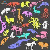 stock photo of animal silhouette  - Animal alphabet poster for children - JPG