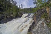 stock photo of waterfalls  - Waterfall Small Yaniskengas on Kutsayoki river - JPG