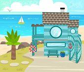 image of beach-house  - Cartoon beach house in front of an ocean view - JPG